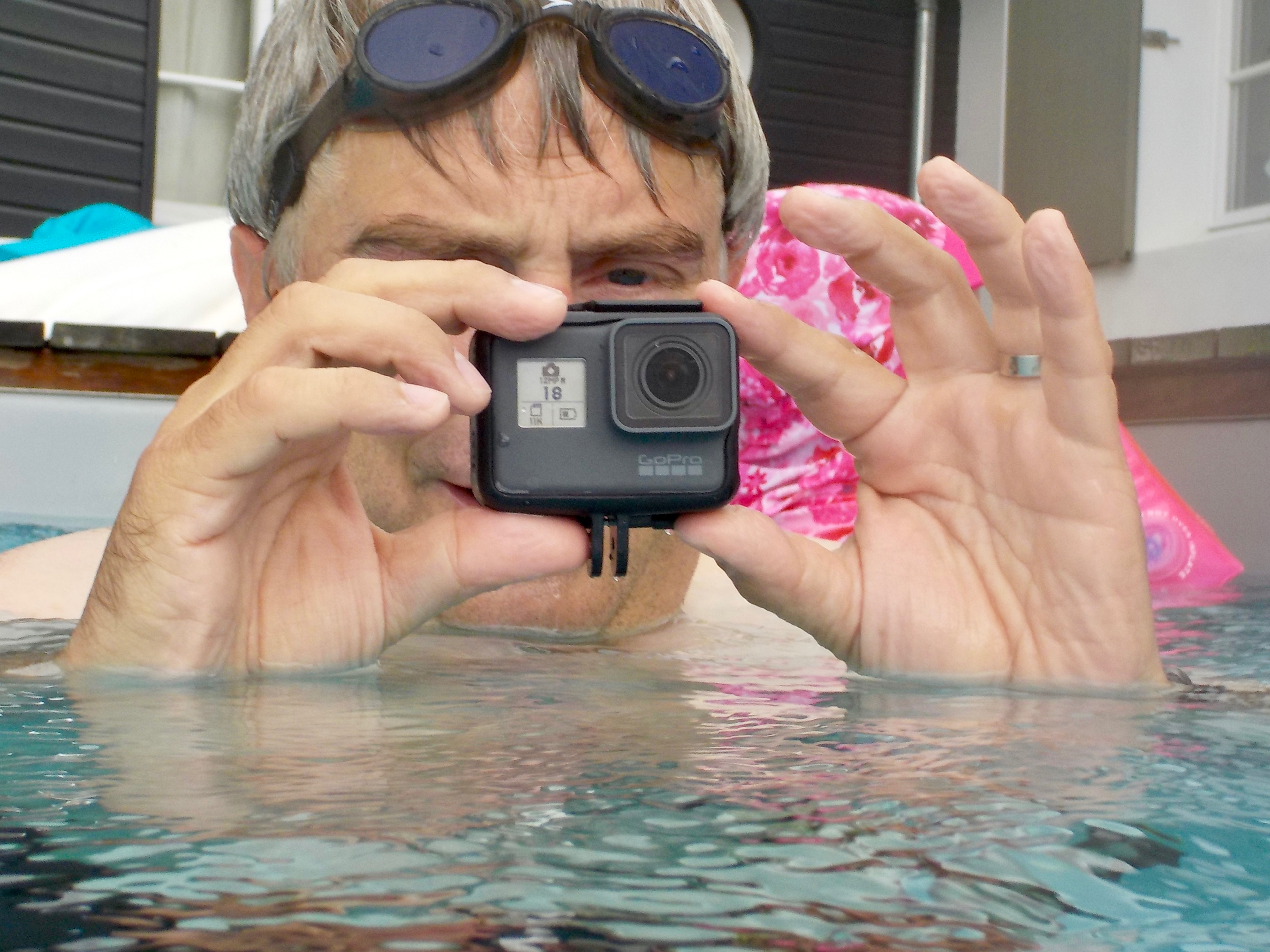 Adam Tinworth in a pool with a GoPro